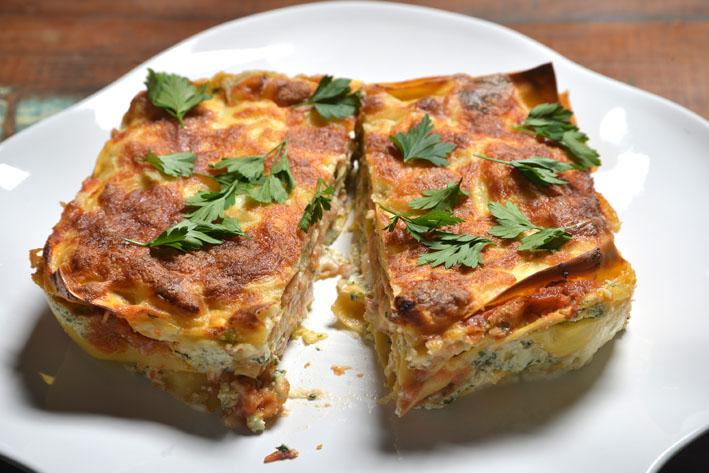 Receita de lasanha de espinafre com ricota do chef André Pionteke