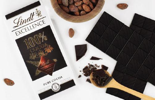 Lindt lança Excellence 100% pure cocoa