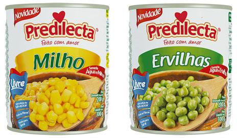 Predilecta lança milho e ervilha livres de sal, açúcar e conservantes