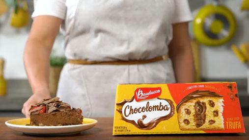 Torta Chocolomba com chocolate e morangos, receita inédita Cozinha Bauducco